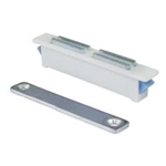 "Snap-In Magnetic Catch - Plastic - Zinc Plated Keeper - 2-1/2"" x 3/8"" x 1/2"" - White"