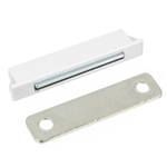 "Snap-In Magnetic Catch - Plastic - Zinc Plated Keeper - 1-3/4"" x 1/4"""
