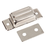 "Magnetic Catch - Brass - Nickel Plated - 2"" x 3/4"" x 1/2"""