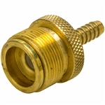 "Camping Fittings - 1/4"" Hose Barb x 1""-20 Male Swivel w/ Valve Stem & O-ring (Marshall Excelsior)"