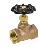 Brass Straight Stop w/ Stuffing Box - Threaded - Series 132