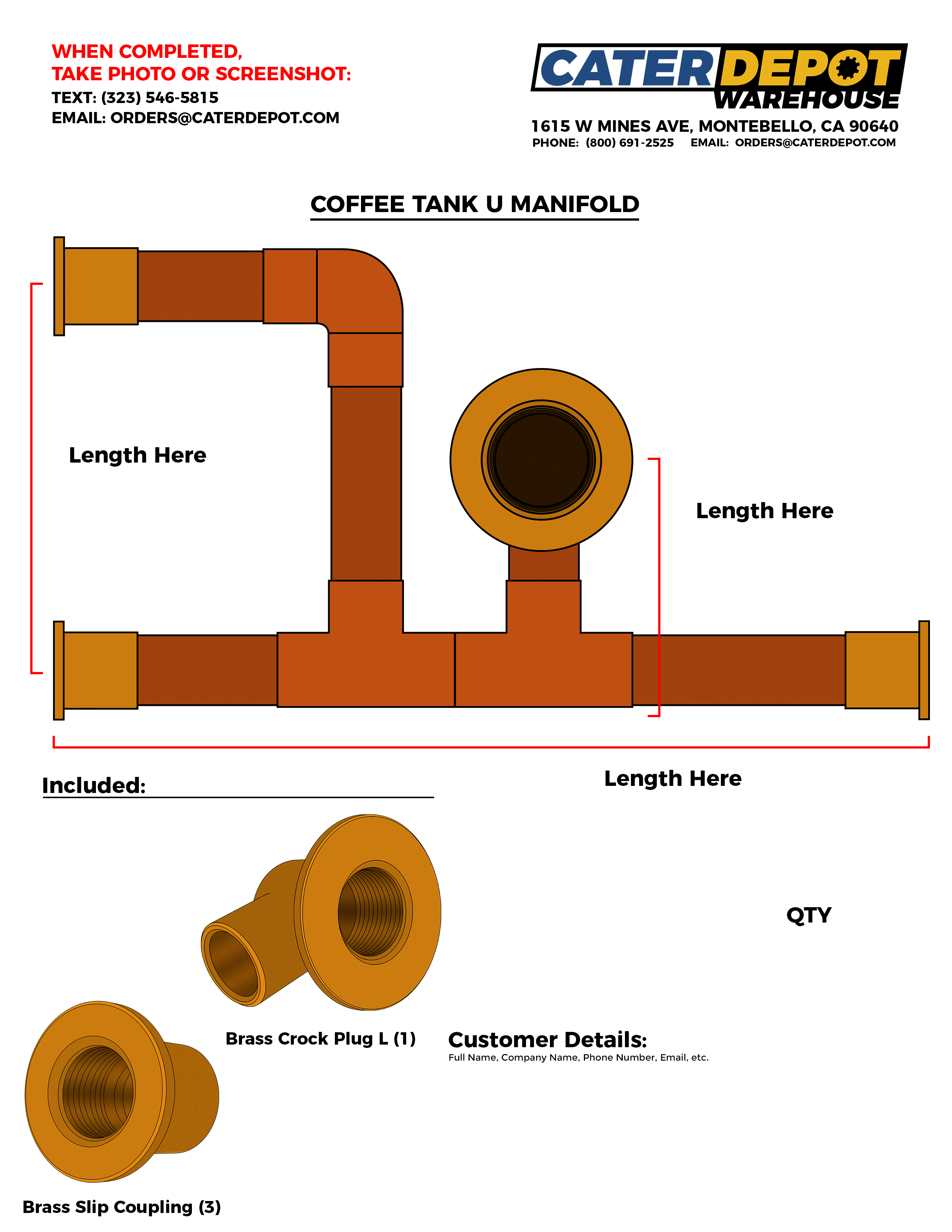 Custom Coffee Tank U Manifold
