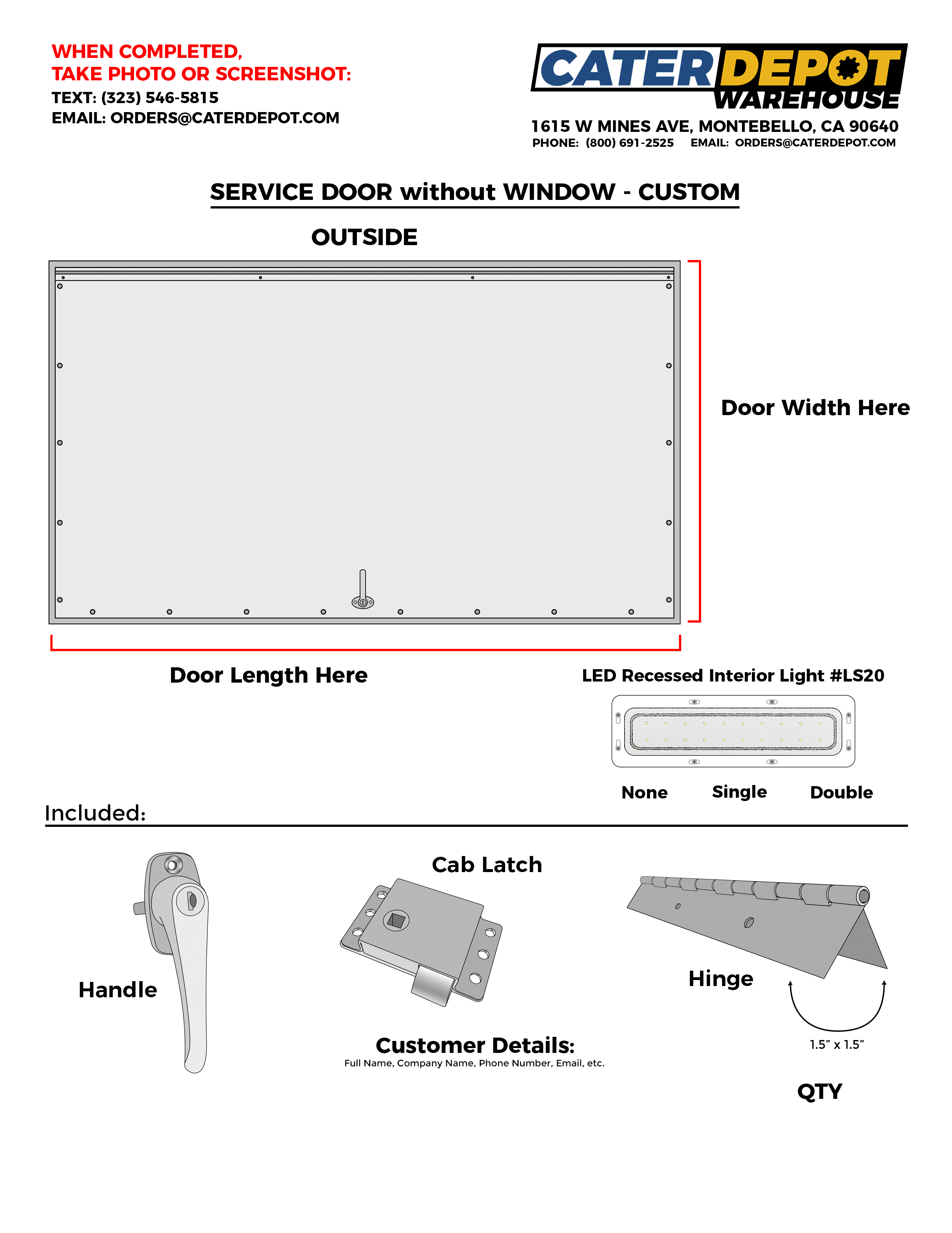 Custom Food Truck Service Door w/Window