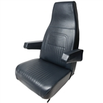 Navy Blue Vinyl High Back Seat w/Arms - High Back