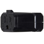 Connectors - 2 Pole, 3 Wire - 15A-125V - Female Receptacle - Black