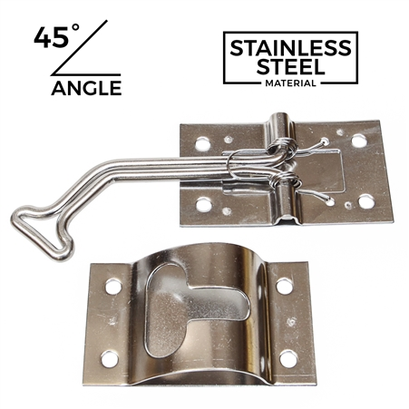 "2.5"" Wire Door Holder w/ Keeper - Stainless Steel - 45 Degree Bend"