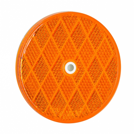 "3-3/16"" Round Center Bolt Reflector - Amber"