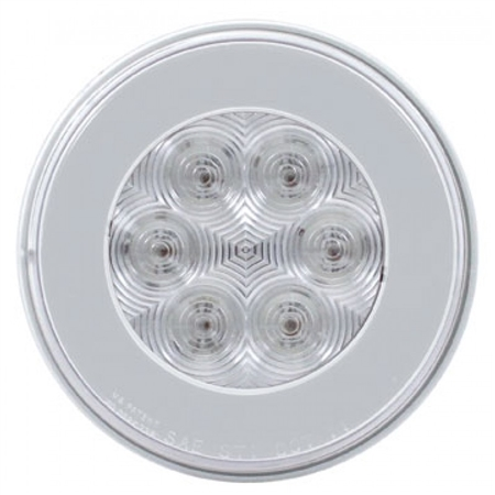 21 LED Round Light - Red LED - Clear Lens - 4""