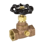 Brass Straight Stop w/ Drain - Threaded - Series 136