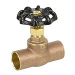 Brass Straight Stop w/ Stuffing Box - Sweat - Series 142