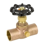 Brass Straight Stop w/ Drain - Sweat - Series 146