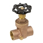 Brass Gate Valve w/ Drain - Sweat - Series 8104